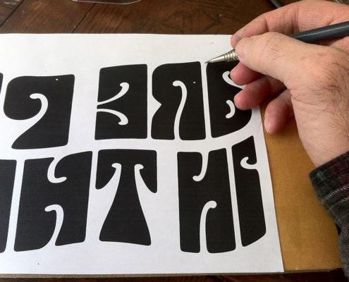 Tracing drawing onto linoleum